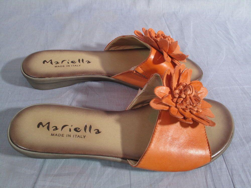women s mariella sandals made in italy orange size 6 m slides