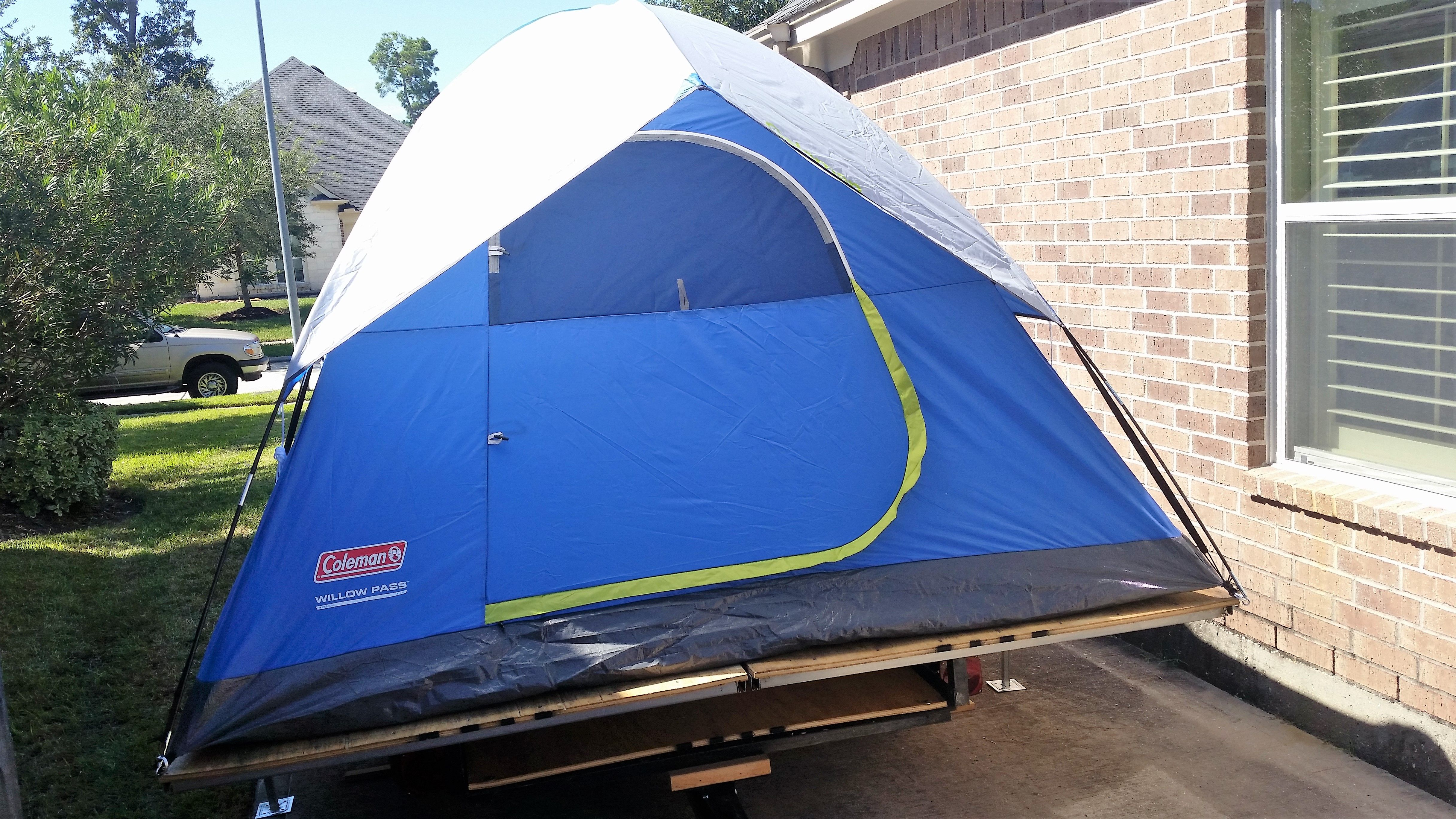 tent trailer made using a 4x6 utility trailer plywood and steel