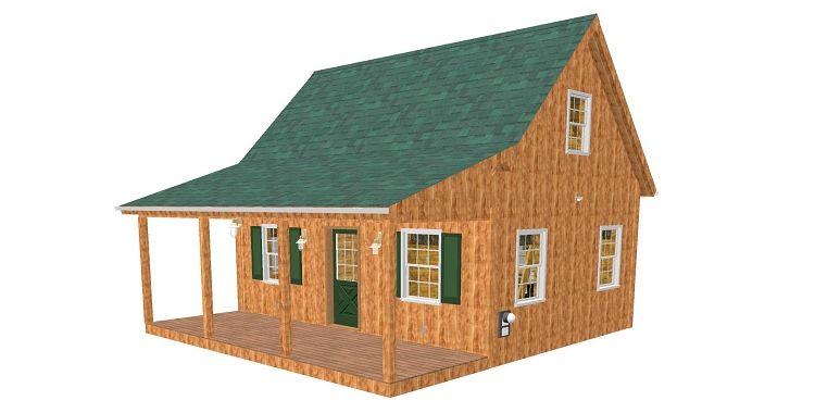 Adirondack Cabin Plans, 18u0027x24u0027 With Cozy Loft And Front Porch, 1.5