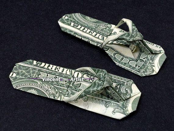 Sandals Money Origami Art Dollar Bill Cash Slippers Thongs Flip