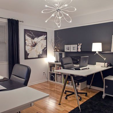 mesmerizing modern office wall color ideas   charcoal accent wall   I love Red, White & Black~with a ...