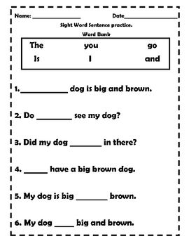 Help your students reinforce their sight word knowledge with these worksheets. YOu can also gauge their reading comprehension with pictures boxes t...