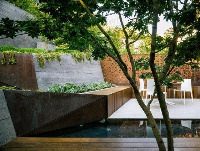 gartengestaltung stadt hanglage stützmauer wasser bodendecker, Garten und erstellen