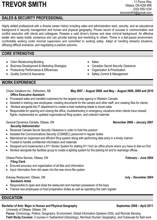 Sales U0026 Security Professional Resume Sample