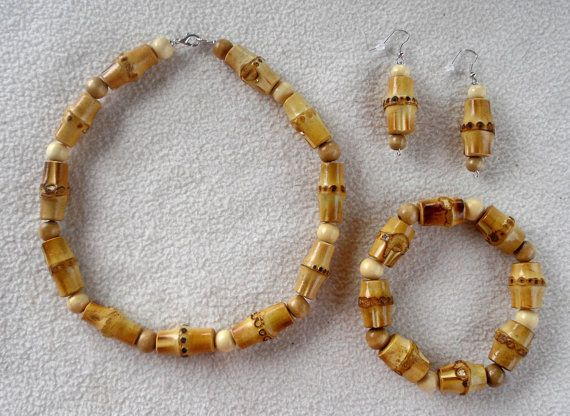 Bamboo/Wood bead Jewelry Set-Choker/Necklace Bracelet/Anklet and Dangle Earrings Trio