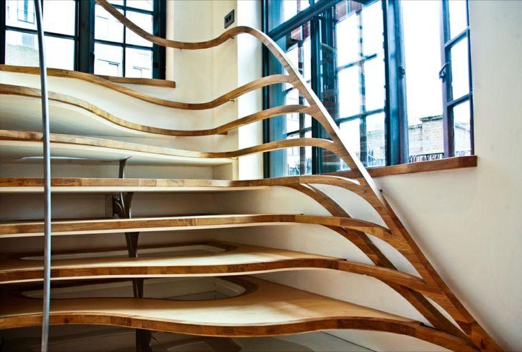 pasasmanos para escaleras interiores de madera modernas Interiores