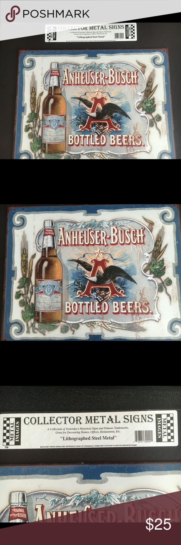 """Budweiser collectible metal sign Collectible Anheuser-Busch Budweiser lithographed metal sign. Has an American eagle in the letter """"A"""" and below has the American flag. Other"""