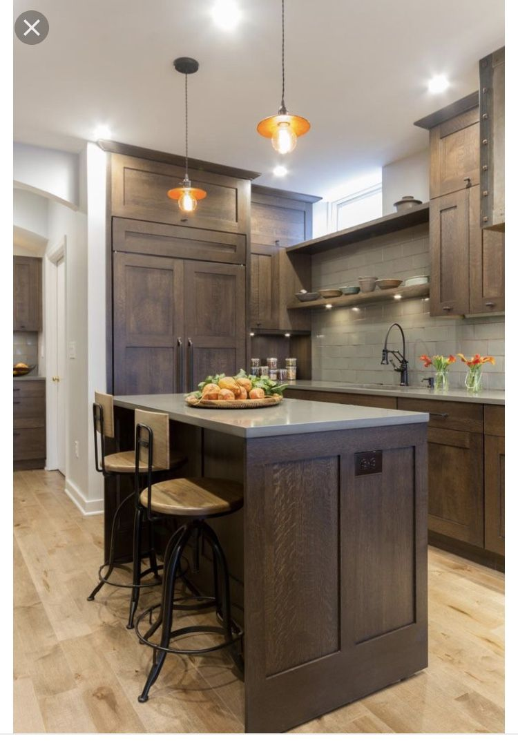 Brown Cabinets With Grey Countertops Dark Wood Kitchen Cabinets Dark Wood Kitchens New Kitchen Cabinets