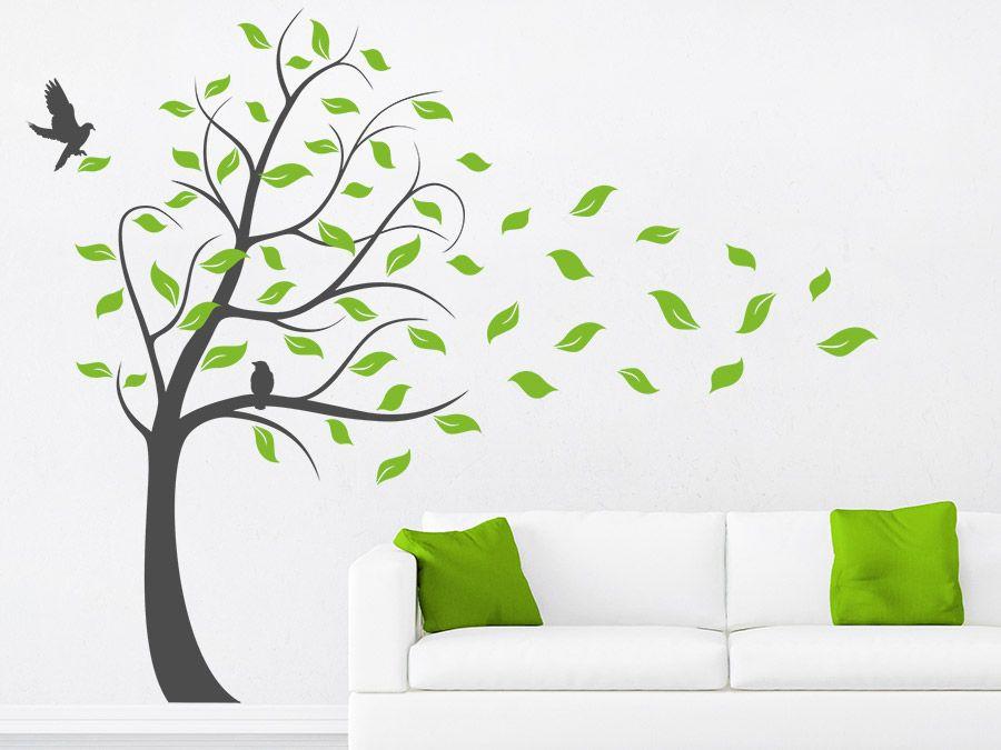 Mehrfarbiger Wandtattoo Baum Im Sturm Als Faszinierendes Deko Highlight. # Baum #Wanddekoration