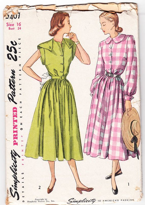 Vintage 1948 Simplicity 2407 UNCUT Sewing Pattern Misses\' One-Piece ...