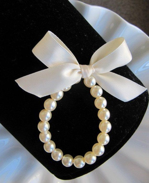 Flower Pearl Bracelet With Ribbon For Wedding Toddler Birthday Or Babies Photo Prop