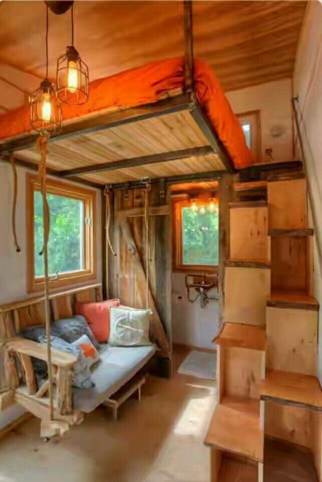 Einrichten Und Wohnen, Holz, Einrichtung, Mini Häuser, Kleine Häuser,  Baumhäuser, Seil Schwingen, Kleines Haus Einrichtung, Mikrohaus Design
