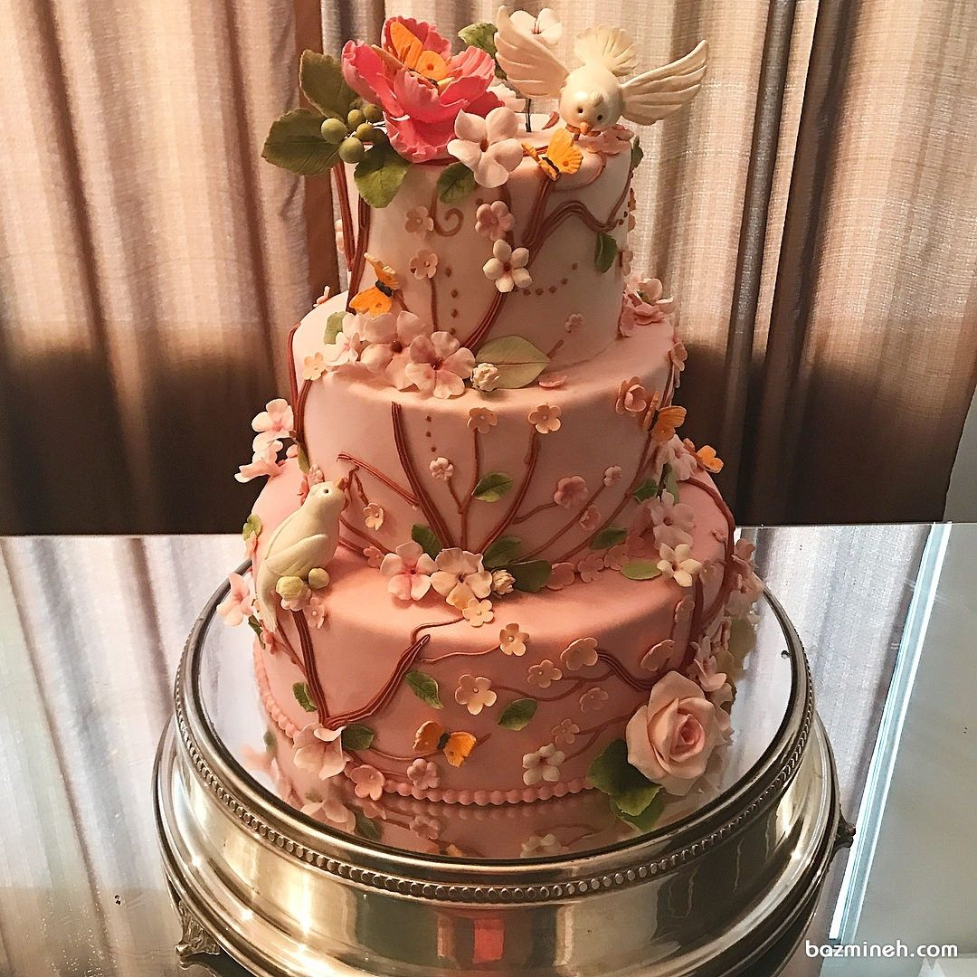 کیک جشن تولد دخترانه با تم شکوفه های بهاری صورتی Cake Desserts Diaper Cake