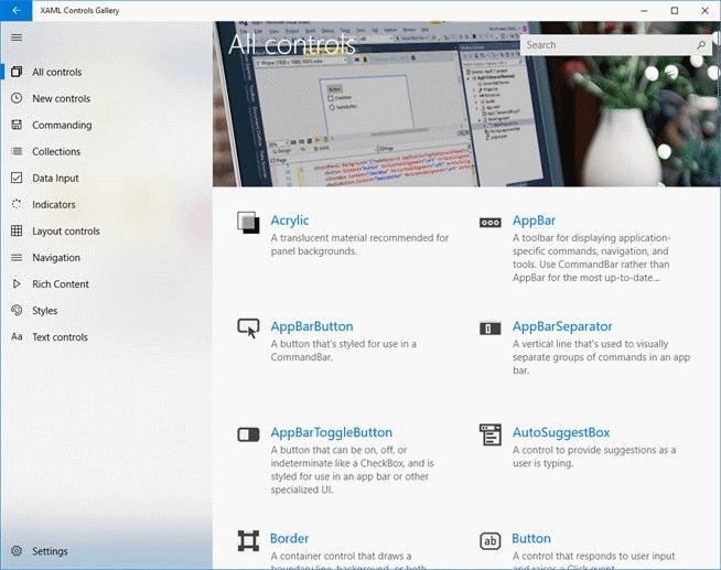 XAML Controls Gallery screen App development, Pattern