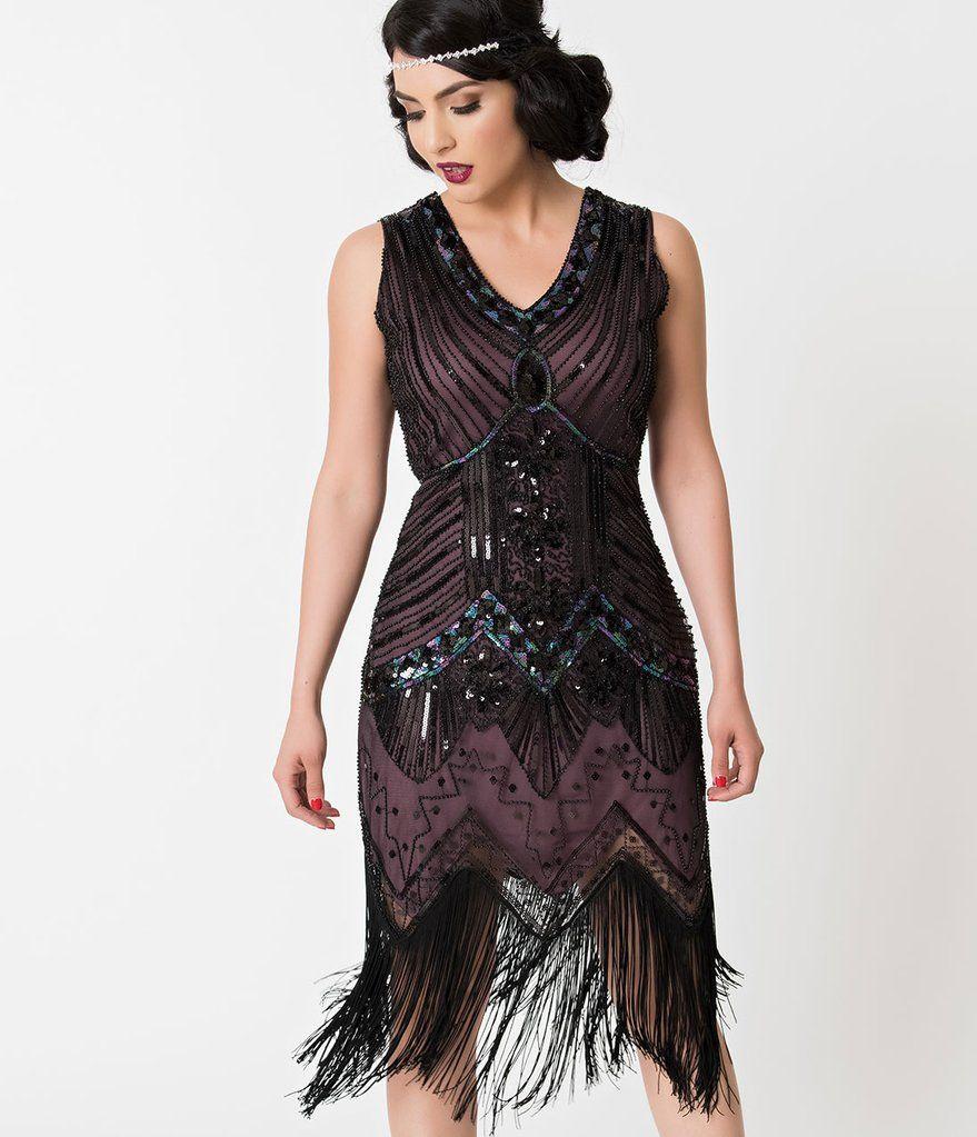 Unique Vintage 1920s Deco Purple Black Sequin Veronique Fringe Flapper Dress 20s Outfits Fashion Roaring 20s Outfits [ 1023 x 879 Pixel ]