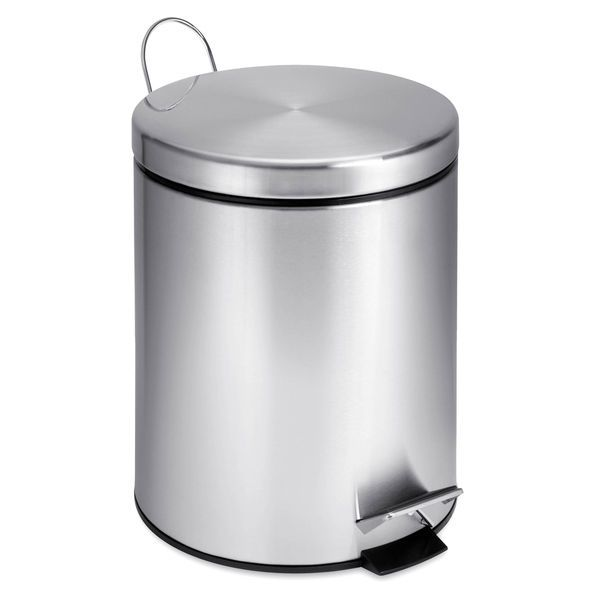 Stainless Steel Trash Can Small Bathroom Step 5 Liter Round
