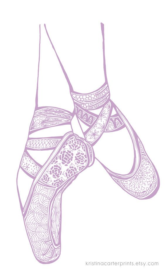 ballet pointe shoes art printzentangle
