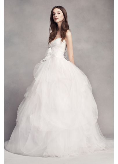 Awesome White by Vera Wang Hand Draped Tulle Wedding Dress VW