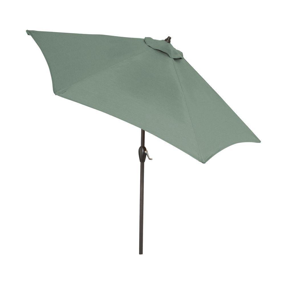 Hampton Bay 9 Ft Aluminum Patio Umbrella In Spa With Push Button