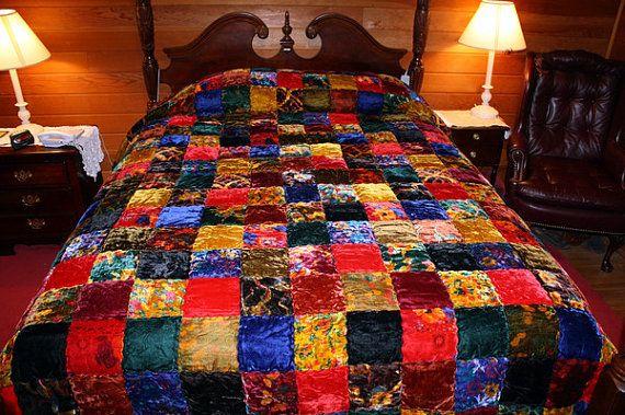 1970 S Hippie Chic Velvet Patchwork Quilt Bedspread King