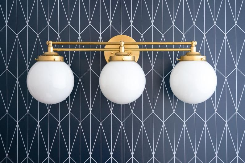 Vanity Globe Light Bathroom Fixture White Globes Etsy Bathroom Wall Lights Art Deco Lighting Bathroom Lighting