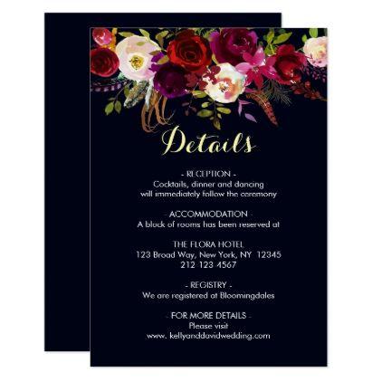 Navy marsala bohemian floral wedding details info card wedding navy marsala bohemian floral wedding details info card wedding invitations cards custom invitation card design stopboris Choice Image