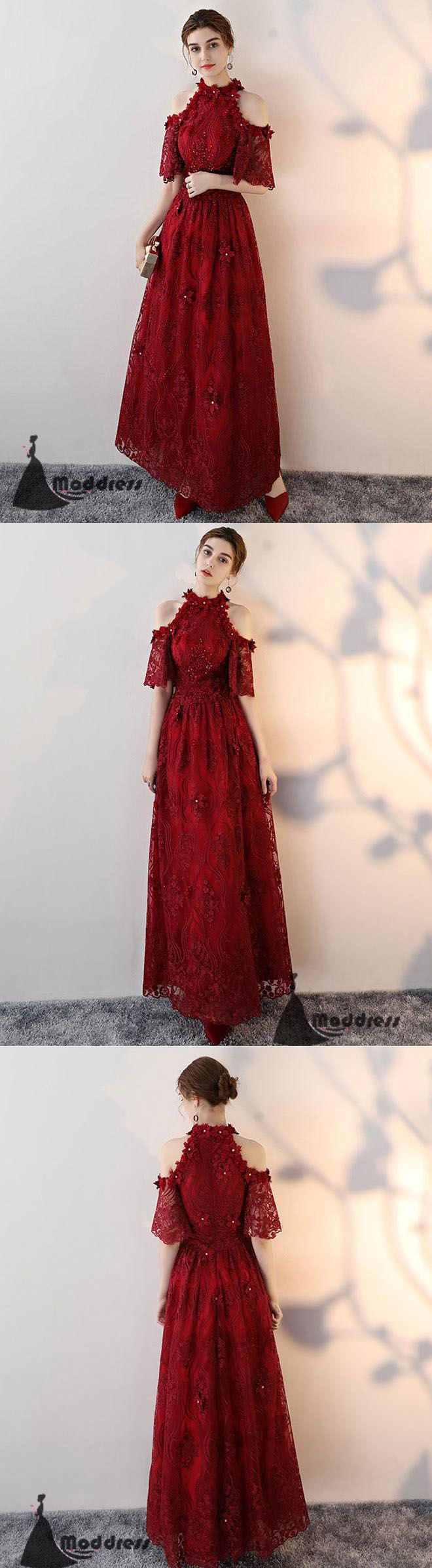 Unique lace long prom dress high neck evening dress aline red