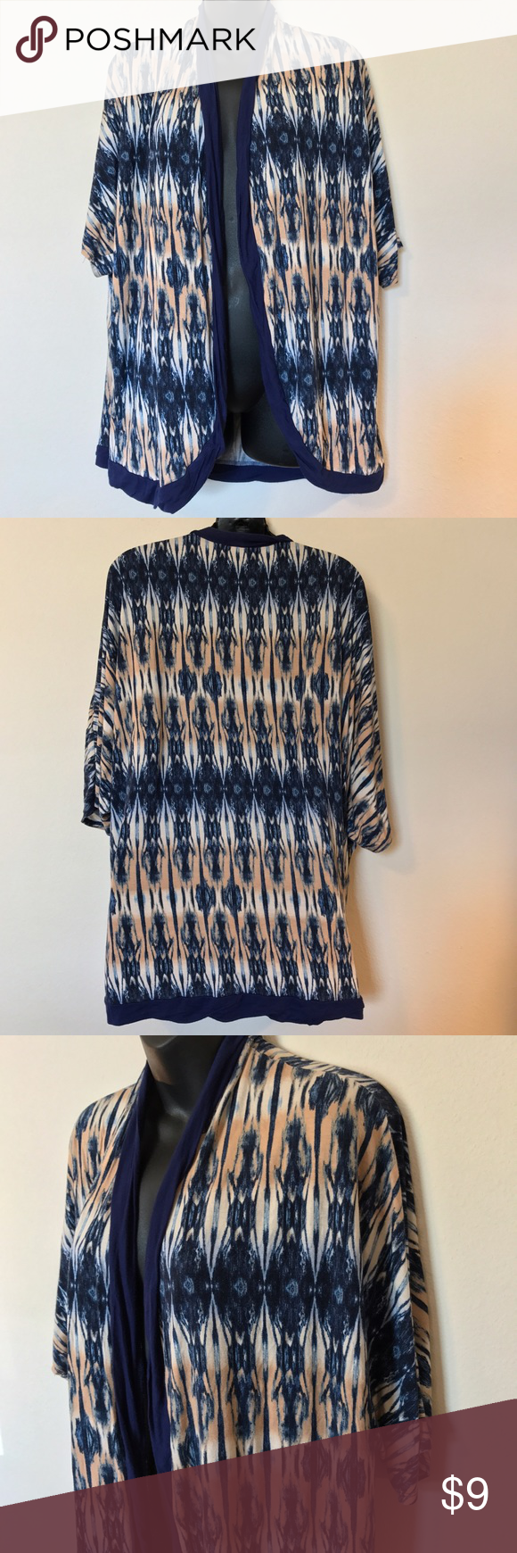 "HEART & SOUL OPEN TOP SHIRT KNIT CARDIGAN BLUE HEART & SOUL WOMEN'S PLUS 3X OPEN TOP SHIRT KNIT CARDIGAN BEIGE BLUE IKAT PRINT MEASUREMENTS LYING FLAT ARMPIT TO ARMPIT 30"" LENGTH 31"" HeartSoul Sweaters Cardigans"