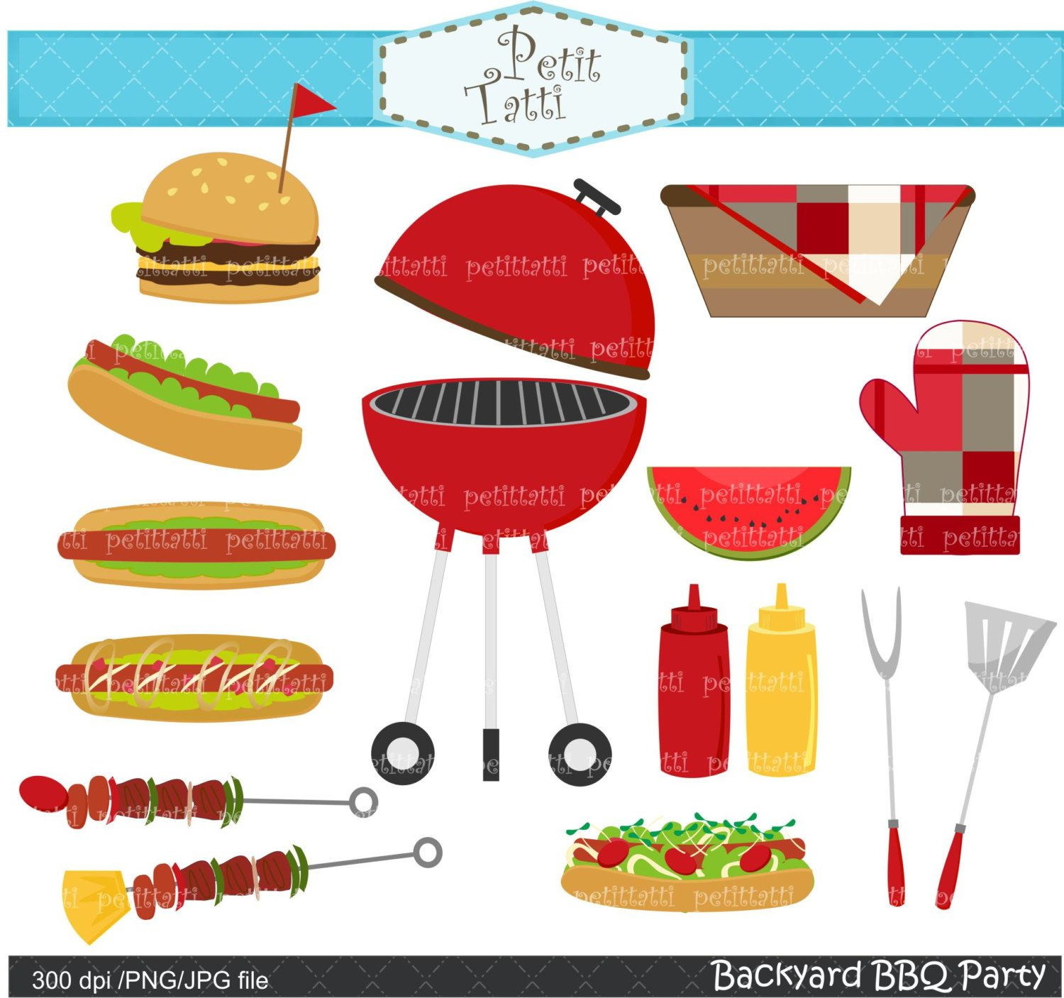 BBQ clip art - summer Bbq Party Digital clip art, Backyard ...