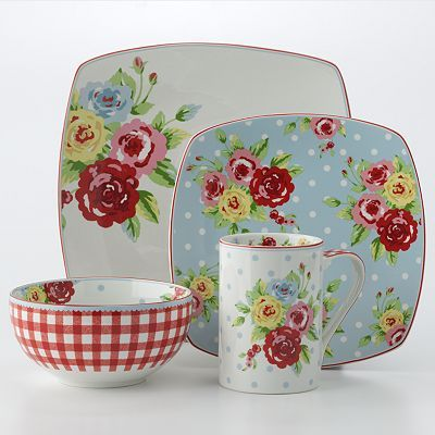 This 222 Fifth New Country dinnerware brings your country decor to life with exciting blues and reds, floral accents and a touch of gingham.