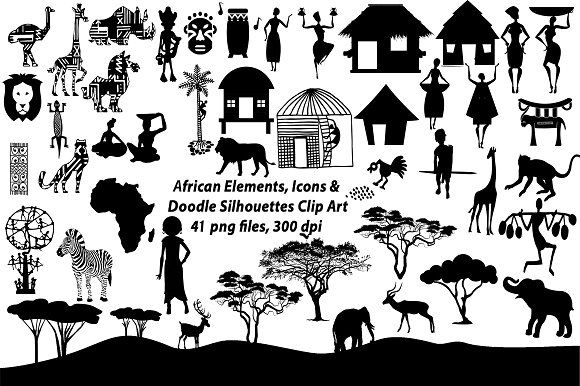 African Elements Icon Silhouettes By Frankiesdaughtersdesign On Creativemarket African Image Illustration Design Silhouette Clip Art