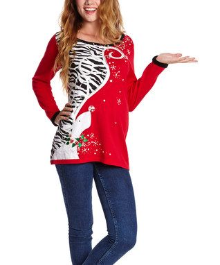 Red & Zebra Reindeer Swirl Sweater - Women