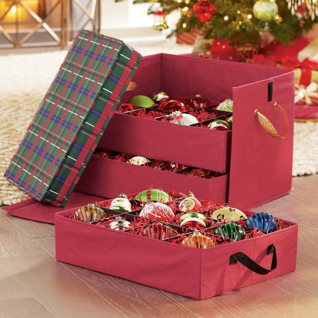 christmas Holidays Pinterest Ornament storage box, Ornament