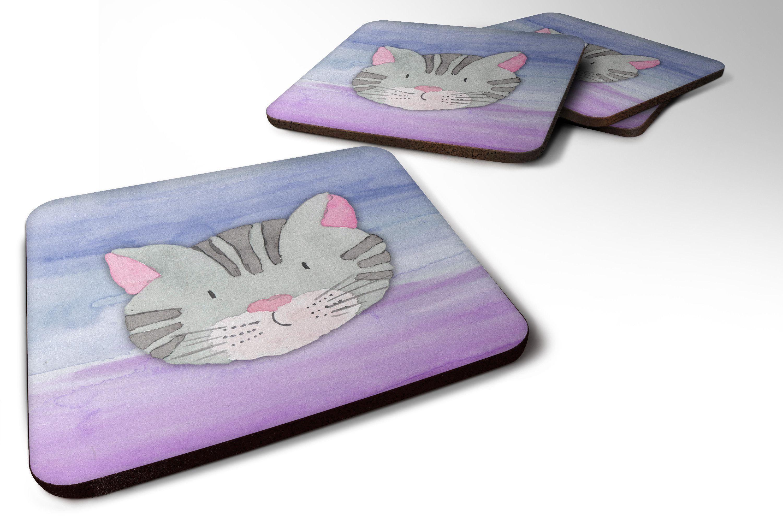Cat face watercolor foam coaster set of bbfc cat face
