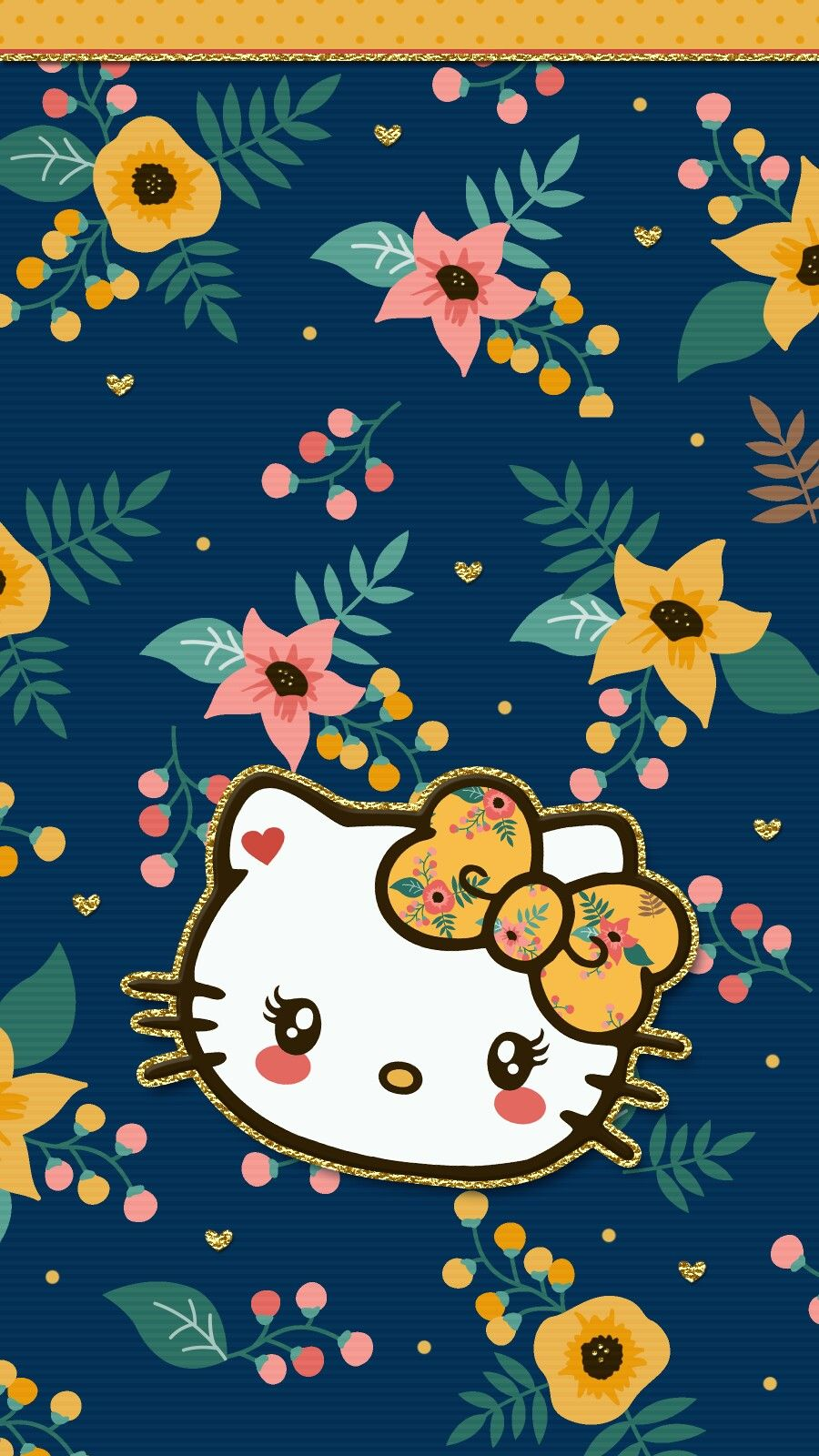 Navy blue floral wallpaper iphone Hello kitty wallpaper