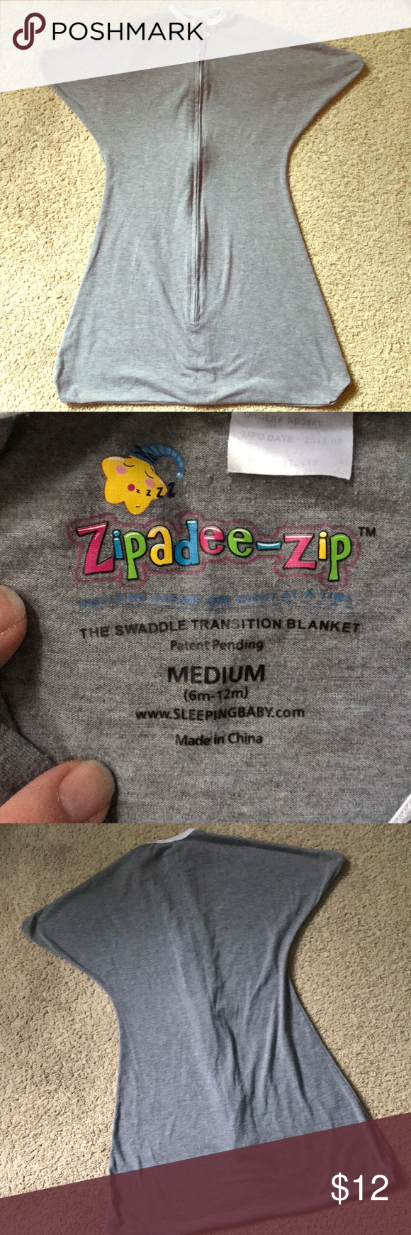 Zipadeezip size medium (6m12m) grey Medium, Zip, Fashion