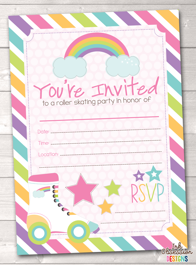 Fill In Roller Skating Party Invitations Printable Girls Birthday Painting