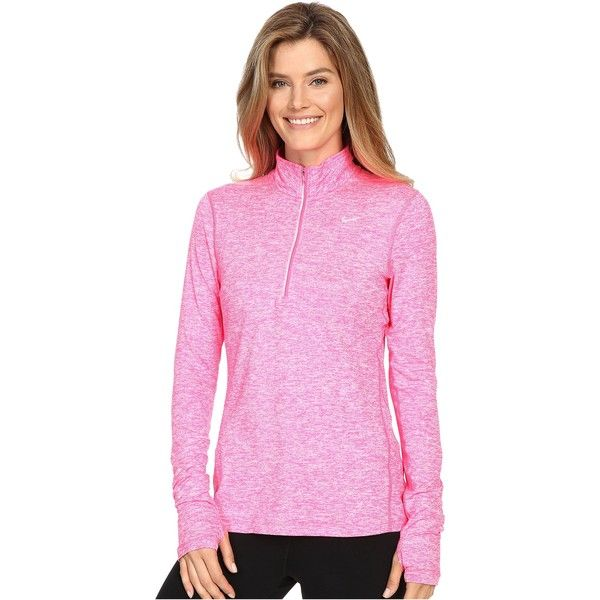 Nike Dri-FIT Element Half Zip (Hyper Pink/Heather/Reflective Silver) ($46) ❤ liked on Polyvore featuring activewear, activewear tops, pink, nike sportswear, pink sportswear, nike activewear and nike