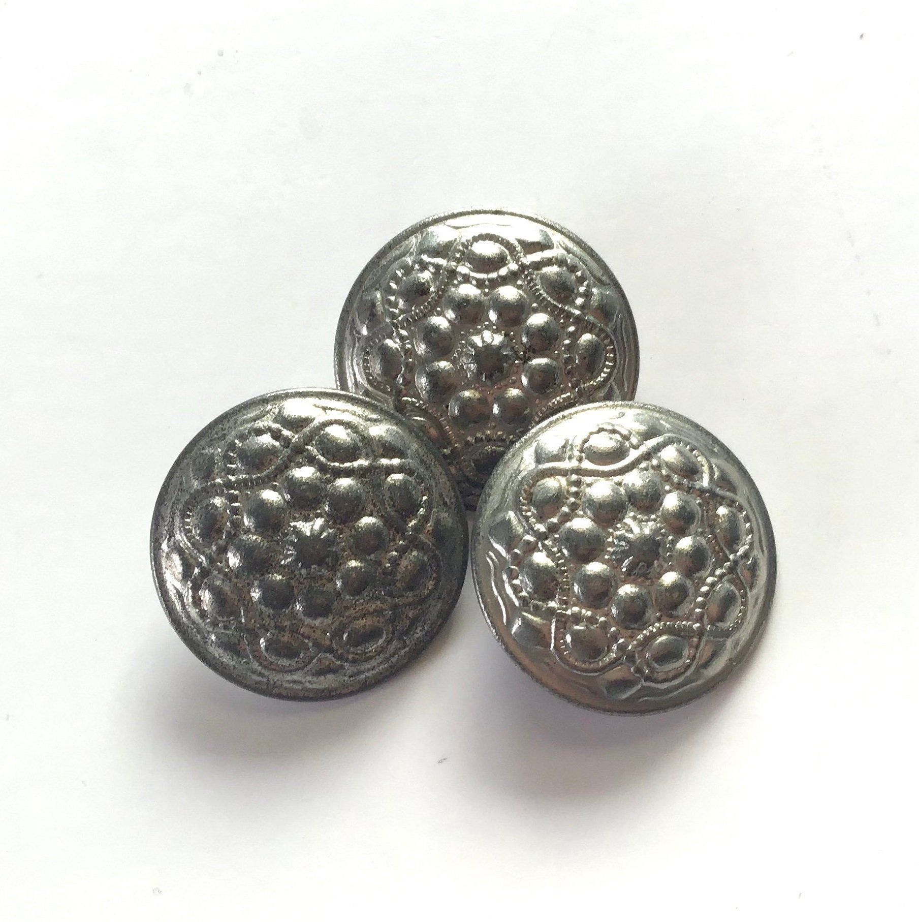 Set of 3 silver shank buttons craft sewing