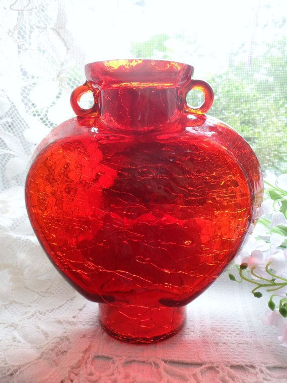 Heart Shaped Amberina Glass Bottle Red Crackle Glass Decanter Red