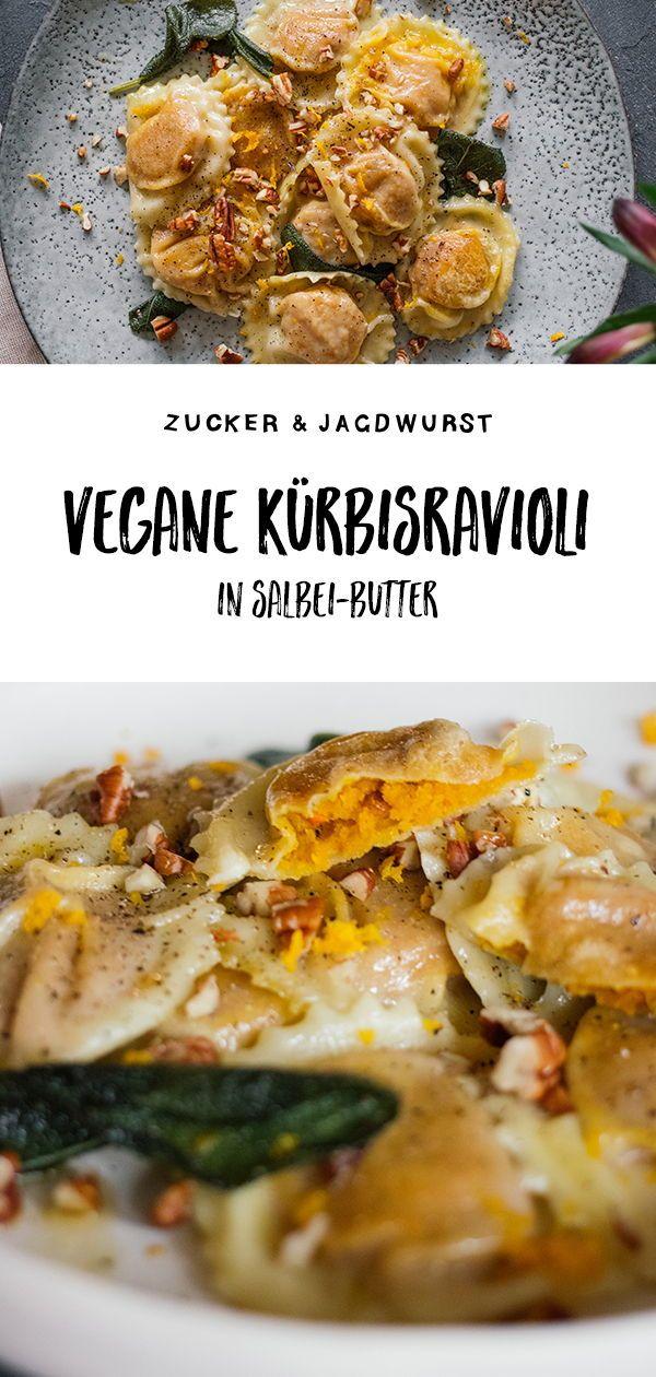 Vegane Kürbis-Ravioli in Salbei-Butter mit Pekanüssen  - Zucker&Jagdwurst #fallrecipesdinner