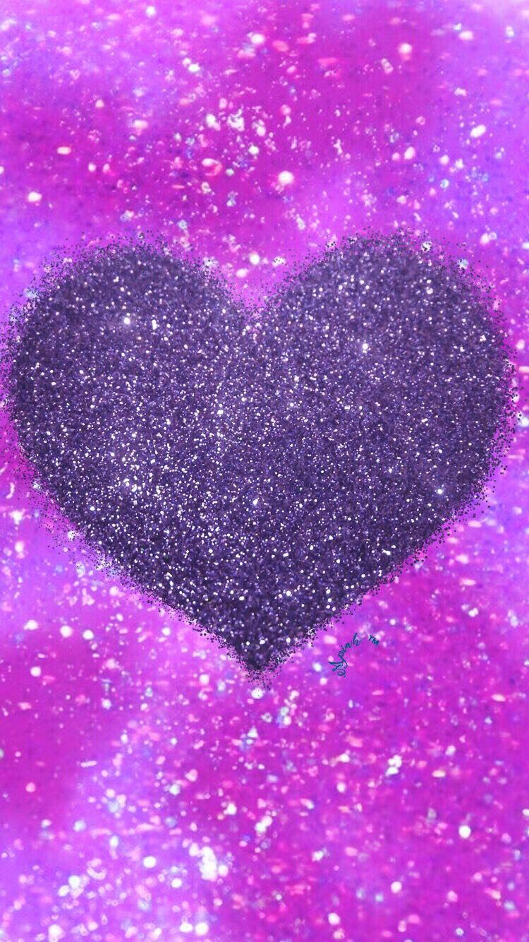 Purple Glitter Heart Wallpaper I Created For The App Top Chart Heart Iphone Wallpaper Heart Wallpaper Glitter Background
