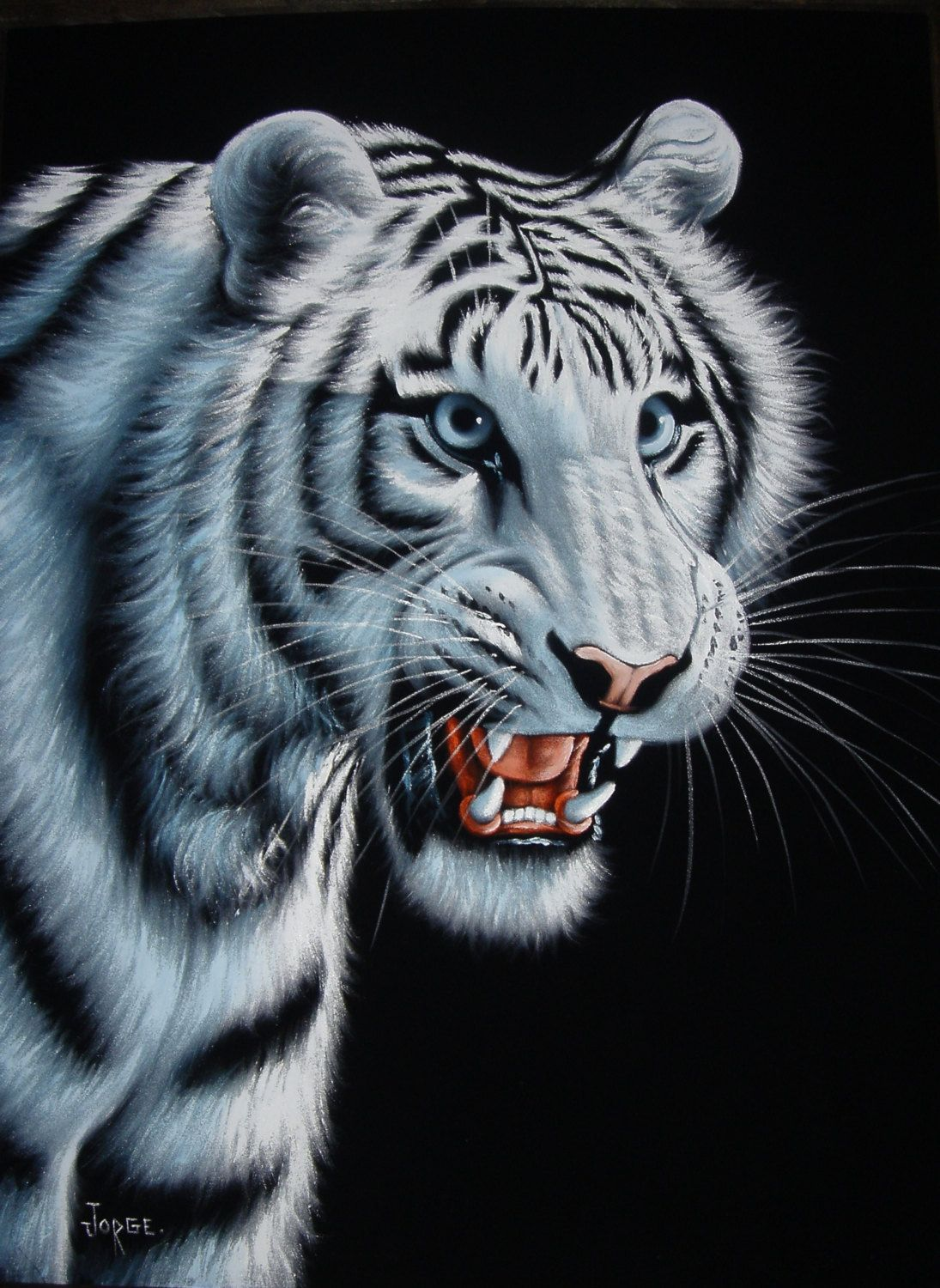 White Tiger Black Velvet Oil Painting Handpainted Signed Art With Images White Tiger