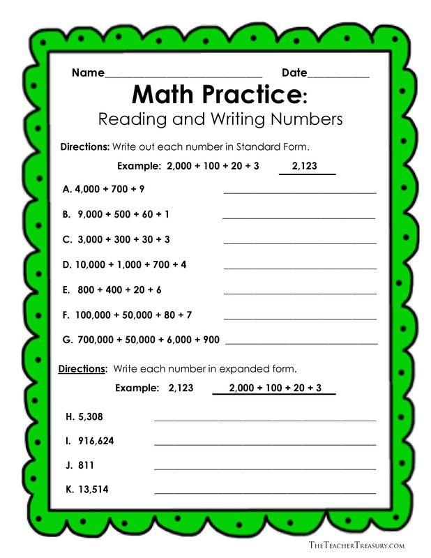Free Reading And Writing Numbers In Expanded Form Standard