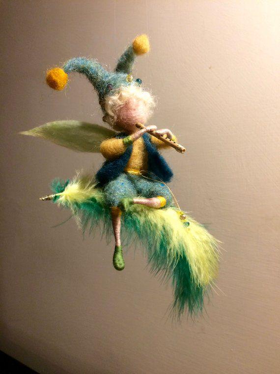 Needle felted elf, Waldorf inspired, Wool elf, Children room, Wool doll, Gift, Needle felted fairy, Felted fairy, Green, Flute, Music elf