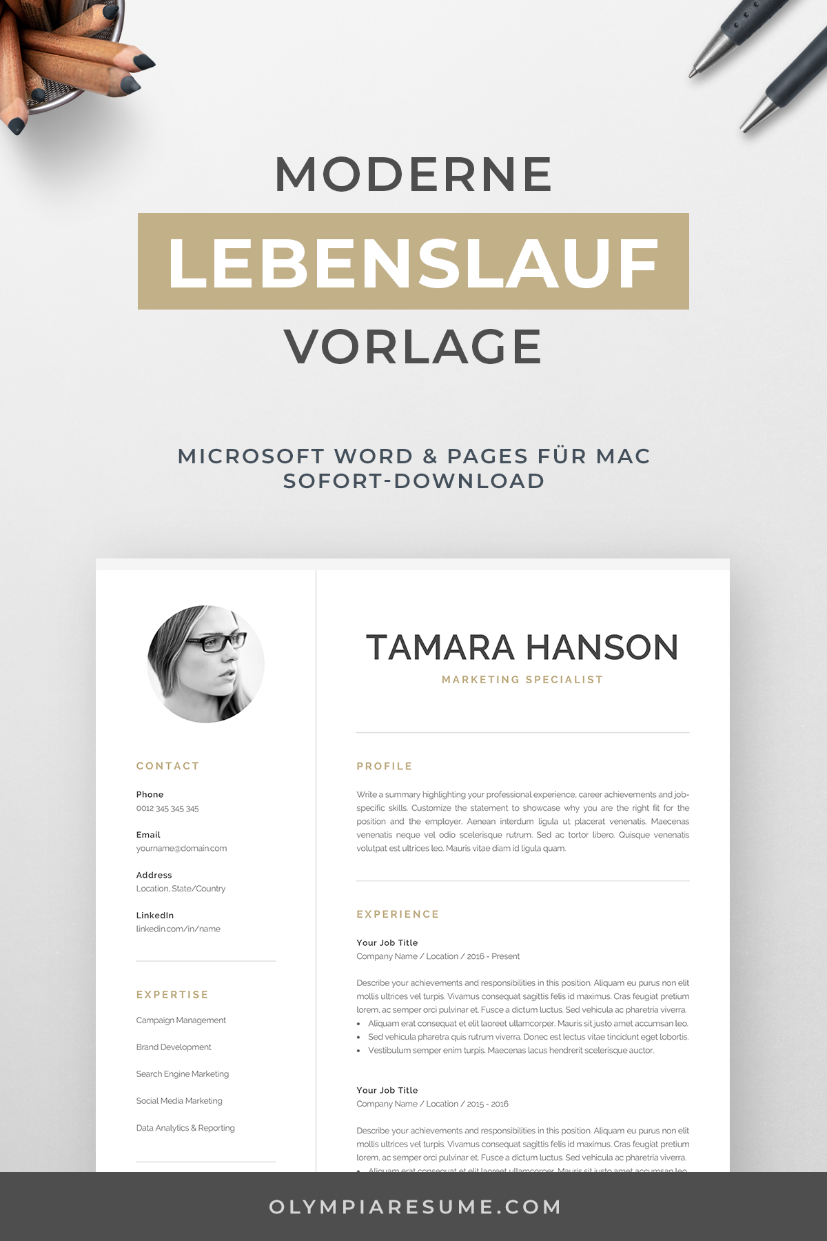 Modern Cv Template With Photo 1 2 Page Resume Etsy One Page Resume Template Creative Cv Template Modern Cv Template