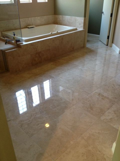 Polished Travertine Floor