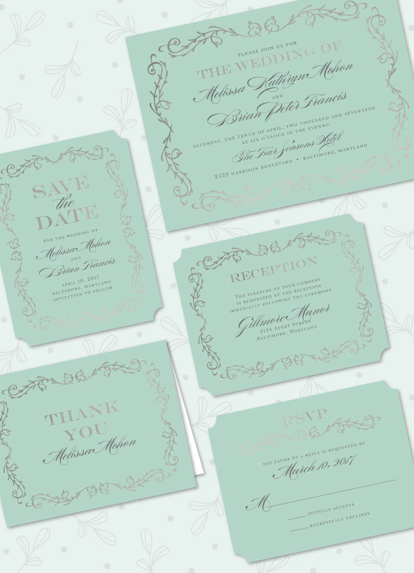 Scrolled in Foil Foil Pressed Wedding Suite: Save the Date ...