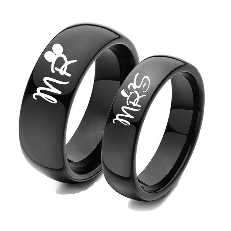 Mr And Mrs Black Titanium Couple Rings Price For A Pair In 2020