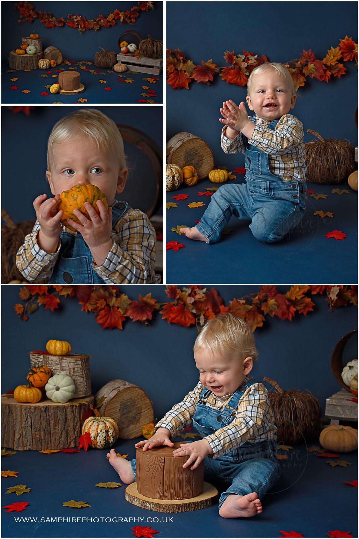 Cake smash autumn pumpkins by samphire photography sussex